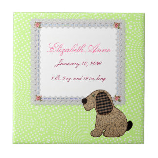 Girly Puppy Dog Baby Girl Birth Announcement Tile