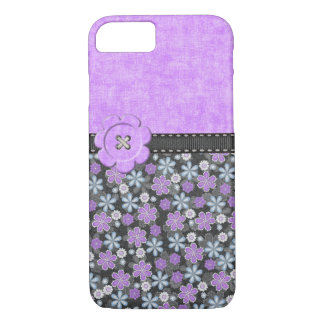 Girly Purple and Black Barely There Iphone Case