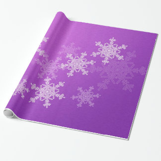 Girly purple and white Christmas snowflakes Wrapping Paper