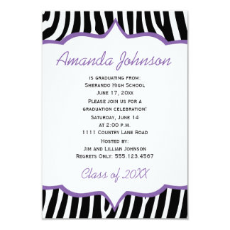 Girly Purple and Zebra Print Graduation Party Card