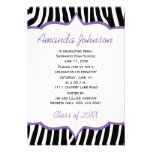 Girly Purple and Zebra Print Graduation Party Announcements