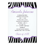 Girly Purple and Zebra Print Graduation Party 3.5x5 Paper Invitation Card