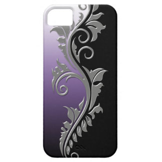 Girly Purple Black Silver Swirl iPhone5 iPhone 5 Cases