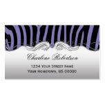 Girly Purple Black Zebra Purple Diamond Ornate Double-Sided Standard Business Cards (Pack Of 100)