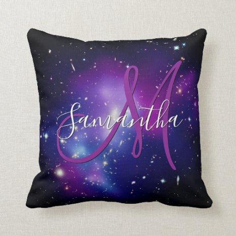Girly Purple Celestial Photo Monogram Throw Pillow