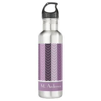 Girly Purple Chevron Stripes Pattern With Name Water Bottle