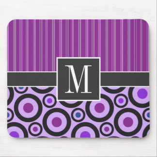Girly Purple Circles & Dots Mouse Pad