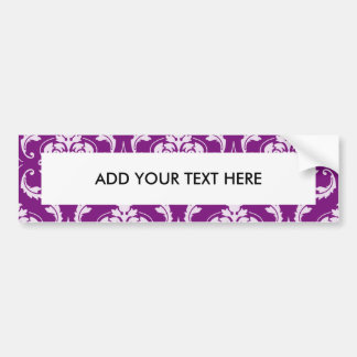 Girly Purple Damask Pattern Car Bumper Sticker