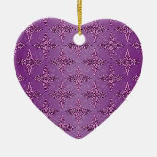 Girly Purple Damask Pattern Ceramic Ornament