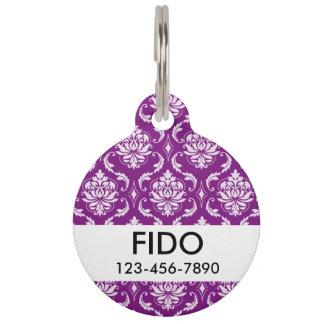 Girly Purple Damask Pattern Pet ID Tag