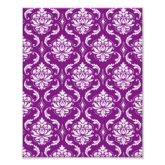 Girly Purple Damask Pattern Photo Print