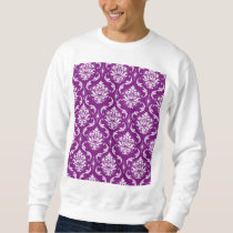 Girly Purple Damask Pattern Sweatshirt