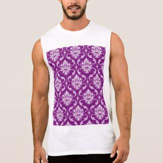 Girly Purple Damask Pattern Sleeveless Shirts