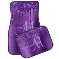 Girly Purple Dripping Glitter Brush Metal Monogram Car Floor Mat