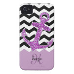 Girly Purple Faux Glitter Anchor Chevron Monogram iPhone 4 Cover