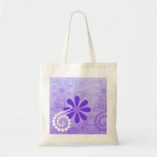 Girly Purple Floral Retro Flowers Bag
