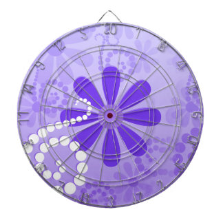 Girly Purple Floral Retro Flowers Dartboard With Darts