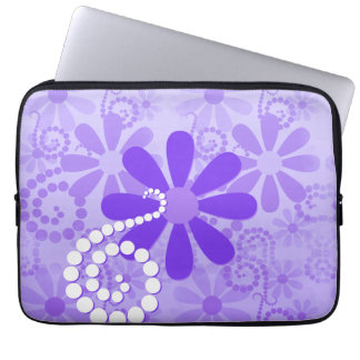 Girly Purple Floral Retro Flowers Laptop Sleeve