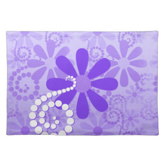 Girly Purple Floral Retro Flowers Place Mat