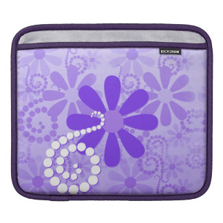 Girly Purple Floral Retro Flowers Sleeve For iPads