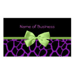 Girly Purple Giraffe Print With Cute Green Ribbon Double-Sided Standard Business Cards (Pack Of 100)