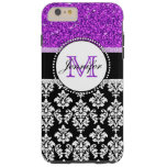 Girly Purple Glitter Black Damask Personalized Tough iPhone 6 Plus Case