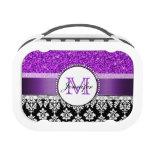 Girly Purple Glitter Black Damask Personalized Lunch Boxes