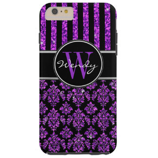 Girly Purple Glitter Black Damask Your Name Tough iPhone 6 Plus Case