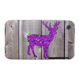 Girly Purple Glitter Deer Rustic Style iPhone 3 Cover