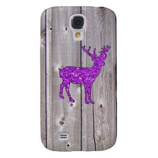 Girly Purple Glitter Deer Rustic Style Samsung S4 Case