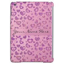 Girly Purple Glitter Heart Pattern on Pink Cover For iPad Air