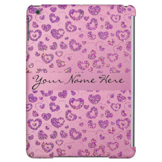 Girly Purple Glitter Heart Pattern on Pink iPad Air Covers