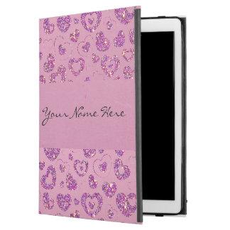 "Girly Purple Glitter Heart Pattern on Pink iPad Pro 12.9"" Case"