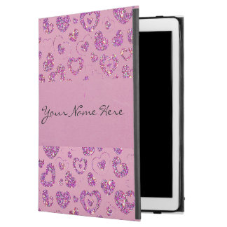 Girly Purple Glitter Heart Pattern on Pink iPad Pro Case