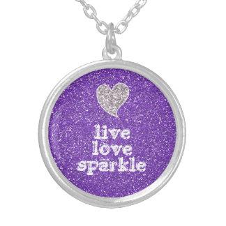 Girly Purple Glitter Live Love Sparkle Quote Custom Necklace