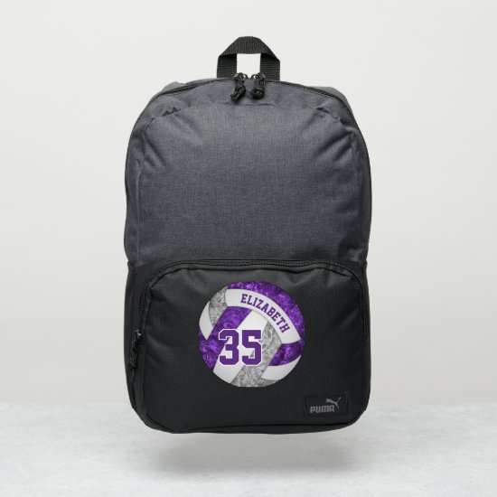 girly purple gray white sporty volleyball puma backpack