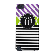 Girly Purple Green Black Stripes Monogrammed Ipod Touch 5g Cover at Zazzle