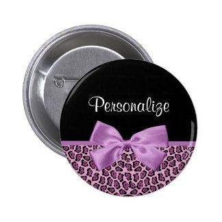 Girly Purple Jaguar Print Cute Bow With Name 2 Inch Round Button