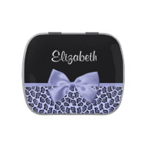 Girly Purple Jaguar Print Lavender Bow With Name Jelly Belly Tin
