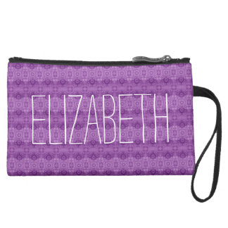 Girly Purple Lacy Pattern Custom Name A07 Suede Wristlet Wallet