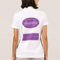 Girly Purple Lacy Pattern Custom Name B07 Polo Shirt