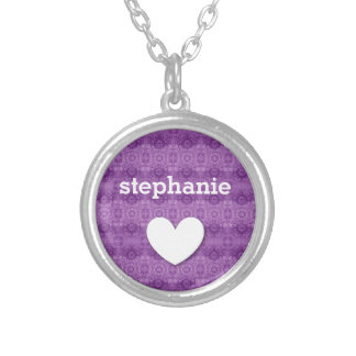 Girly Purple Lacy Pattern Custom Name W06B Silver Plated Necklace