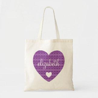 Girly Purple Lacy Pattern Heart Custom Name B03A Tote Bag
