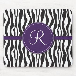 Girly Purple Monogram Zebra Print Mousepad
