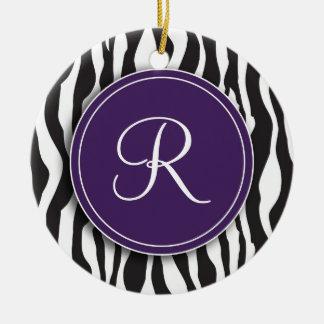 Girly Purple Monogram Zebra Print Ornament