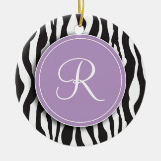 Girly Purple Monogram Zebra Print Ornament