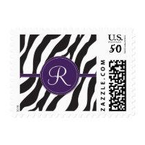 Girly Purple Monogram Zebra Print Postage
