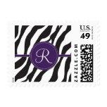 Girly Purple Monogram Zebra Print Postage Stamp