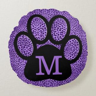 Girly Purple Paw Print with Monogram in Cheetah Round Pillow