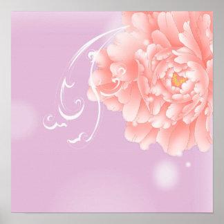 girly purple peony swirls vintage floral poster